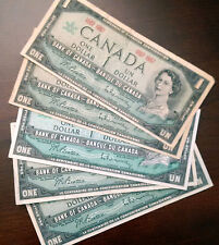 5 X 1867-1967 Canada Commemorative $1 - Canadian One Dollar Circulated Notes