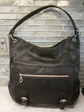 New Relic Black Leather Shoulder Bucket Handbag Purse Biker Hobo