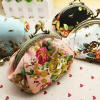 Women Lady Retro Flower Print Small Wallet Hasp Coin Purse Vintage Clutch Bag