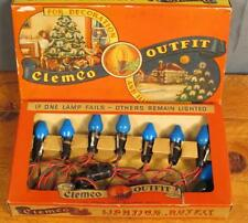 Vintage Antique 1930s Clemco Christmas Lights Set Box Blue Lamps Bakelite Plugs
