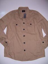 NWT Abercrombie & Fitch Men's Military Shirt Jacket Khaki tan Camo XXL new 2XL