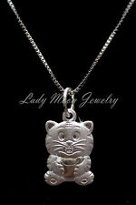 """S990 Fine Silver Chinese Zodiac Animal Sign-Tiger Pendant Necklace 17.5"""""""