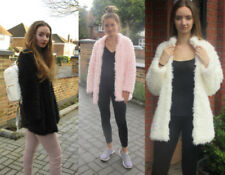Faux Fur Patternless Shaggy Coats & Jackets for Women