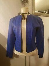 New listing * Chia Bright Blue Vintage Leather Jacket * Sz M * Black Zipper