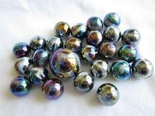 25 Glass Marbles MILKY WAY Purple/Gold Oil Slick Metallic Iridescent Shooter new