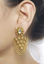 6432 Beautiful Bollywood Ethnic Gold Tone Dangle Polki Earring Indian Jewelry