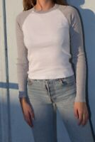 brandy melville white/heather gray ribbed long sleeve cotton bella top NWT sz S