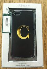 "LAUREN RALPH LAUREN ROMILLY HARD CASE METALLIC BLACK GOLD ""C"" APPLE IPHONE 5"