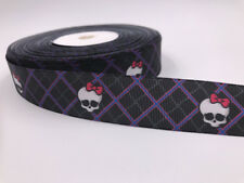 DIY 5 Yard 1'' Black skull bones Printed Grosgrain Ribbon Hair Bow Sewing Ribbon