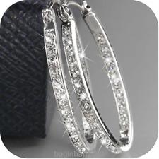 Fashion Women's 9K Gold Filled Silver Crystal Big Hoop Huggie Earrings Jewelry