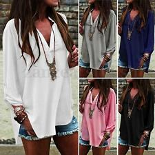 AU Women Long Sleeve Deep V Neck Tops Baggy Loose Casual Chiffon T-Shirt Blouse