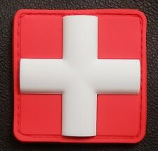 "3D PVC MEDIC CROSS SQUARE EMT EMS PARAMEDIC RED VELCRO® BRAND FASTENER PATCH 2"""