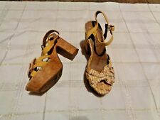 womens jellypop calla yellow printed strappy heels shoes size 8 1/2
