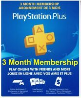 Playstation Plus 3 month Membership Subscription with Code for PS4 PS3 PS Vita ✅
