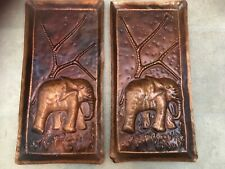 Pair Of Hammered Copper Wall Hangings Plaques