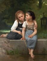 Fishing for Frogs Bouguereau Fine Art Print on Canvas Reproduction Painting 8x10