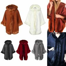 Ladies Faux Fur Trim Hooded Poncho Cape Womens Wrap Shawl Cardigan Warm Coat
