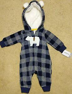 NWT CARTER/'S BABY PAJAMAS NAVY BLUE TERRY CLOTH SNAP STRIPED BEAR 3 M