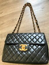 CHANEL Vintage Jumbo MAXI Single Flap Double Chain GHW Black Quilted Lambskin