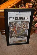 JAPANESE TAKUMA SATO INDY 500 CHAMPION ORIGINAL COMPLETE NEWSPAPER FRAMED