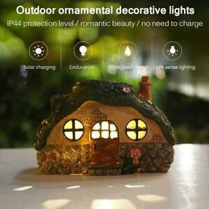 Solar Powered  LED Lawn Yard Light Decor Fairy House StatueOutdoor Garden Decor
