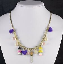 GOLD TONE CHAIN WITH DROP PURPLE HEART/CREAM & PEACH PEARLS/LITTLE DOLLS CHARMS