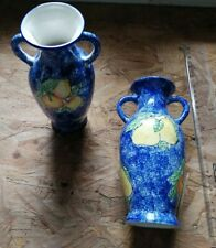 Beautiful Set of 2 Blue Handmade Vases With Apples and Pears