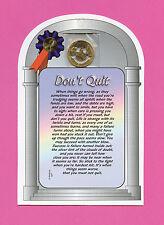 """Don't Quit"" - Poem - Verse Card w/ Smile Penny - sku# 527"
