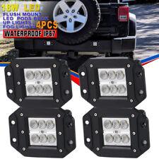 4x 4inch Flush Mount Led Lights Pods Reverse Driving fog floodlights Truck