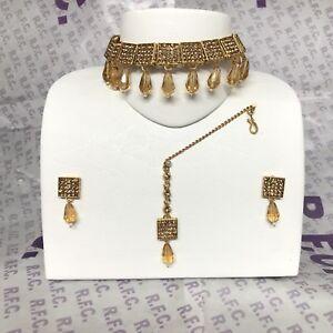 Gold Diamanté Choker Necklace Earring & Tikka Pakistani Bollywood Party Style