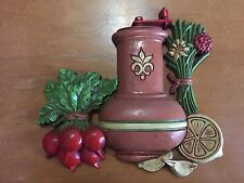 Vintage 1976 Dart Ind. Pepper Mill Vegetable and Flowers Wall Hanging #7429A