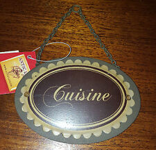 Plaque « cuisine » marron ovale chainette