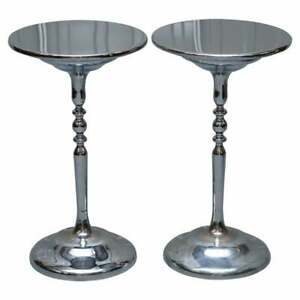 PAIR OF CHROME PLATED VINTAGE SIDE TABLES ON SOLID OAK BASES PART OF LARGE SUITE