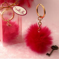 40 Fluffy hot Pink pom pom key chain sweet 16 Bridal Shower Party Favors
