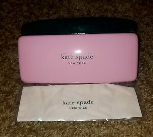 New Kate Spade Sunglass Case Pink & Dark Green w/ Cloth FREE SHIPPING!