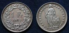 MONETA COIN MONNAIE SUISSE SWITZERLAND SVIZZERA 1 FRANCO 1939 ARGENTO SILVER