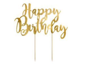 """Cake Topper """"Happy Birthday"""", gold / schwarz / silber - Tortendeko Geburtstag"""