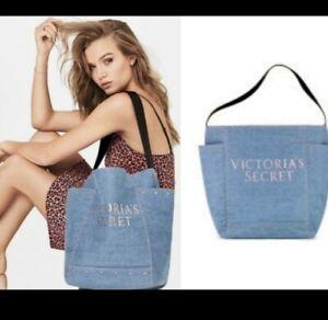 Victoria's Secret Denim Blue Jean Tote Large Weekend Travel Gym Beach Bag Logo