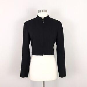 Akris Punto size 6 F38 Cropped Jacket Black Wool Blend