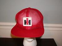 Vtg International Harvester IH Snapback Hat Cap Trucker ALL MESH Mens Patch Red
