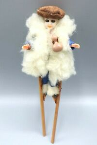 DOLL CELLULOID FRENCH FURRY COAT STANDS ONS STILTS JOINTED