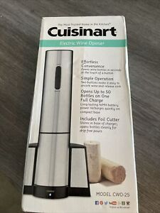Cuisinart CWO-25 Electric Wine Opener Stainless Steel W/Charging Base NIB