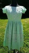 Lovely VINTAGE 50/60's COTTON Spring Summer Teen XS Dress Lacey Green Farm Girls
