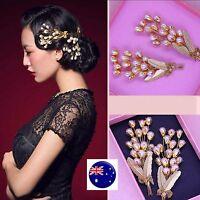 Women gold color Pearl Wedding Bride Party Race Hair Pin Headpiece Brooch PROP