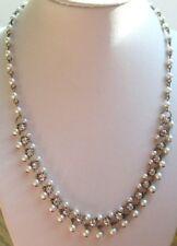 collier ancien chaîne couleur or perles nacrées cristaux diamant bijou vintage 1