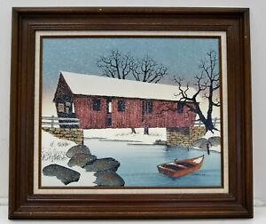 "H. Hargrove ""Covered Bridge"" Giclee on Canvas Print Framed 28x32"" A7727"