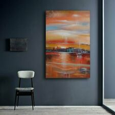 Hand Painted Abstract Oil Painting On Large Canvas Wall Art Decor Framed Seaport