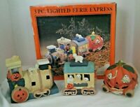 VTG 1990'S 3PC LIGHTED EERIE EXPRESS HALLOWEEN CERAMIC TRAIN SET W/ BOX CLEAN!