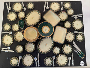 Vintage UK Artisan VICTORIA FASKEN Dinner Service For 6 Dollhouse Miniature 1:12