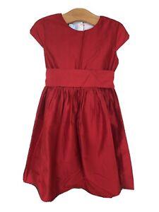 Bella Bliss Girls Silk Dress 6 Red Bow Holiday Christmas Short Sleeve Valentine
